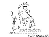 Pêcheur dessin gratuit – Invitations à colorier