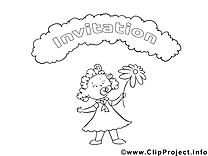 Petite fille illustration – Invitations à imprimer
