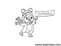 Pingouin dessin à télécharger – Invitations à colorier