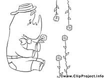 Rhynocéros clip art gratuit – Invitations à colorier