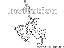 Singe illustration – Coloriage invitations cliparts