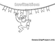Singe image gratuite – Invitations à colorier