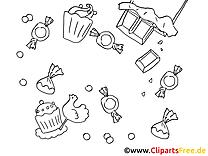 Sucrerie clipart – Invitations dessins à colorier