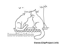 Toit chats dessin – Coloriage invitations à télécharger