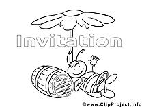 Tonneau illustration – Invitations à imprimer