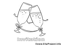 Verres image à télécharger – Invitations à colorier
