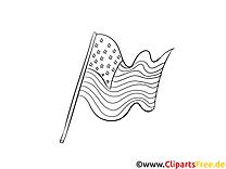 Drapeau à télécharger – Jour de l'Indépendance à colorier