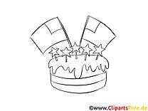 Gâteau clip arts – Jour de l'Indépendance à imprimer
