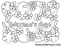 Coloriage journée des femmes image à télécharger