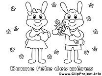 Lapins dessin gratuit – Journée des femmes à colorier