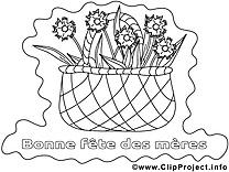 Panier clip art – Journée des femmes à colorier