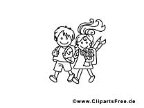Coloriage rentrée école image à télécharger gratuite