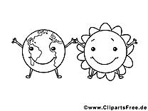 Dessin soleil globe – École gratuits à imprimer