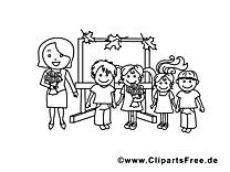 Enseignante dessins gratuits – École à colorier