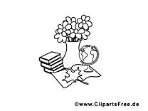 Fleurs clip art gratuit – École à colorier