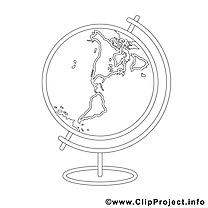 Globe dessin – École gratuits à imprimer