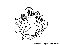 Village clipart – École dessins à colorier