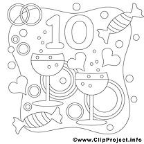 10 ans dessin – Coloriage mariage à télécharger