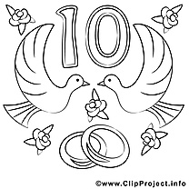 10 ans image – Coloriage mariage illustration