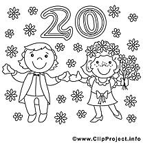 20 ans clip art gratuit – Mariage à colorier