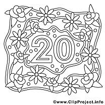 20 ans dessin à télécharger – Mariage à colorier