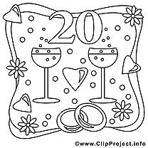 20 ans dessins gratuits – Mariage à colorier