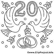 20 ans illustration – Mariage à colorier