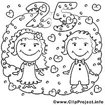 25 ans clip art – Mariage image à colorier