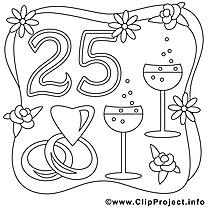 25 ans image gratuite – Mariage à imprimer
