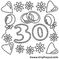 30 ans clipart gratuit – Mariage à colorier