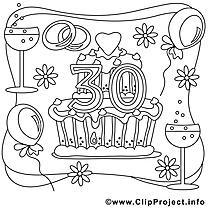 30 ans image gratuite – Mariage à colorier