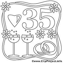 35 ans dessin à télécharger – Mariage à colorier