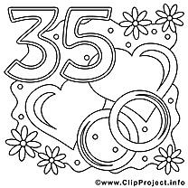 35 ans dessins gratuits – Mariage à colorier