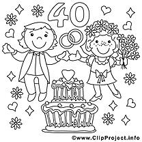 40 Ans Clip Arts Mariage A Imprimer Mariage Coloriages Dessin