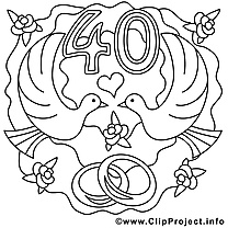 40 ans image – Coloriage mariage illustration