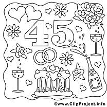 45 ans dessin – Mariage gratuits à imprimer