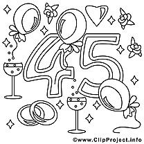 45 ans illustration – Mariage à imprimer