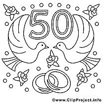 50 ans image à télécharger – Mariage à colorier