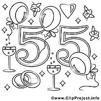 55 ans clip art – Mariage image à colorier