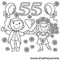 55 ans dessin – Coloriage mariage à télécharger