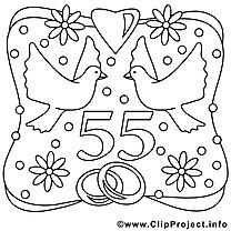 55 ans dessin gratuit – Mariage à colorier