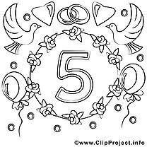 5 ans dessin gratuit – Mariage à colorier