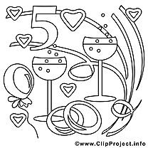 5 ans images gratuites – Mariage à colorier