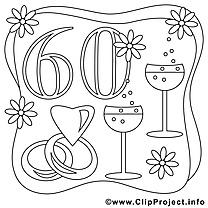 60 ans image gratuite – Mariage à colorier