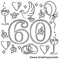 60 ans images gratuites – Mariage à colorier