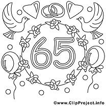 65 ans image à télécharger – Mariage à colorier