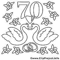70 ans clip art gratuit – Mariage à colorier