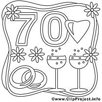 70 ans clipart gratuit – Mariage à colorier