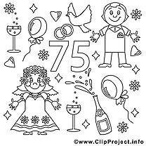 75 ans dessin – Coloriage mariage à télécharger