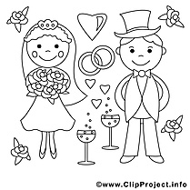 Amoureux clipart gratuit – Mariage à colorier